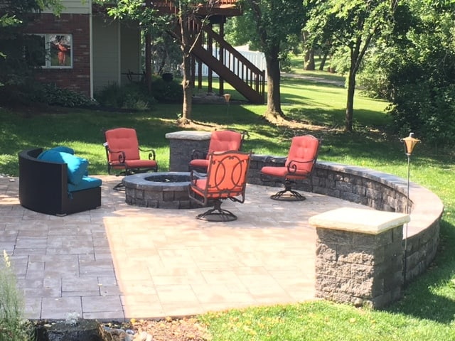 Seating Wall, Brick Patio, Fire Pit