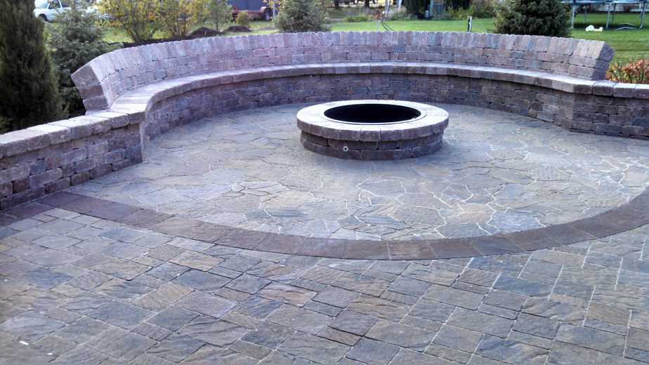 Retaining Wall, Seating Wall, Fire Pit, Brick Patio, Outdoor Living Space